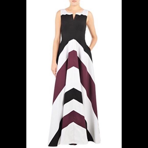 87da797771da eshakti Dresses | New Chevron Fit Flare Maxi Dress M 10 | Poshmark