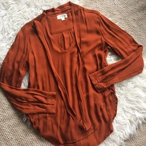Cloth & Stone Anthropologie Tie Neck Blouse Small