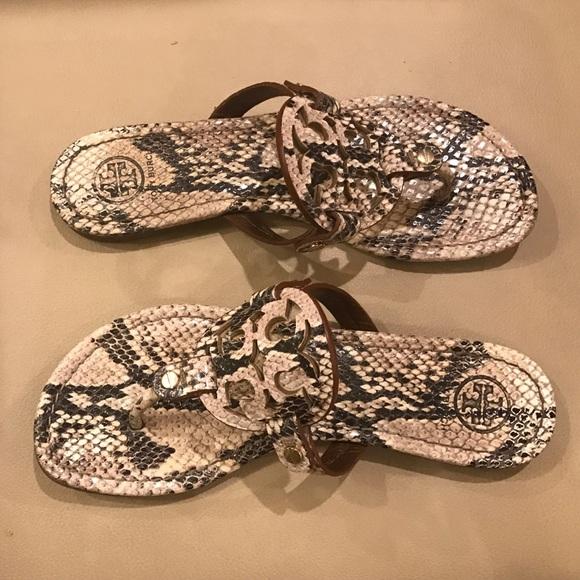 8c3596087 Tory Burch Snake Skin Miller Sandals