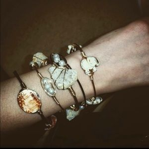 Set of 5 handmade bangles with all natural stone