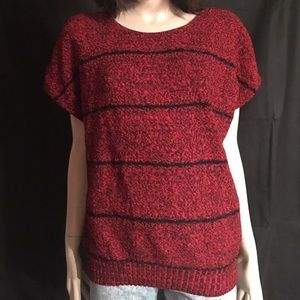 Vintage red slouch sweater with black stripes