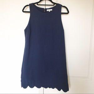 Navy Blue Scallop Shift Dress