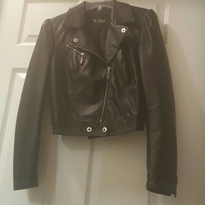 Guess black motorcycle jacket Sz s