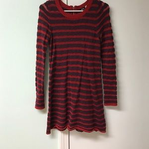 Stripped red and maroon/purple sweater dress