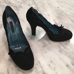 Marc Jacobs Shoes - Marc Jacobs Black Suede High Heels w/ Ribbon & Bow