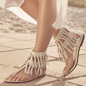 Sam Edelman Shoes - Sam Edelman Studded Fringe Leather Sandals