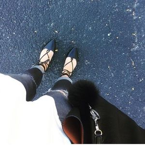 Old Navy Black Lace-Up Flats