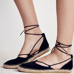 Free People Shoes - Free People Black Suede Marina Lace Up Espadrille