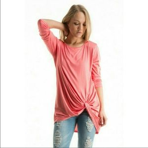 Fashionomics Tops - 🌟New Arrival🌟 Coral Side Knotted Tunic Top🌟