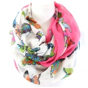 Accessories - Pink White Blue Butterfly Infinity Scarf B54