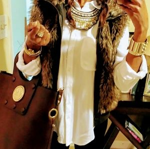 Dollhouse Jackets & Blazers - Brown faux fur vest