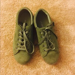 Army green suede sneakers