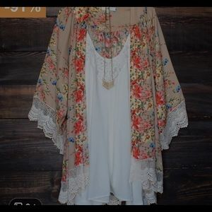 Sweaters - Floral print soft lace cardigan