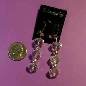 V Styled Jewelry - Multicolor Iridescent Crystal Earrings silver tone