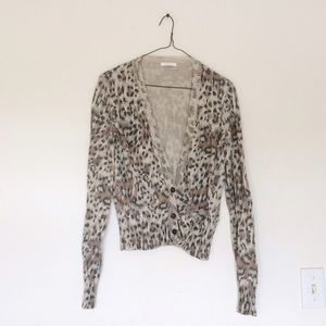 Chloe Sweaters - Chloe Animal Print Knit Button Down Cardigan