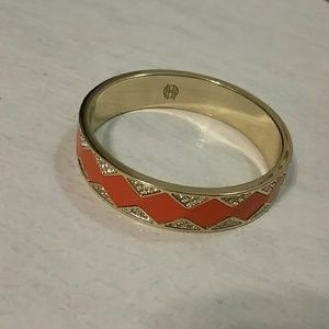 House of Harlow 1960 Jewelry - House of Harlow Orange Leather Sparkle Bangle