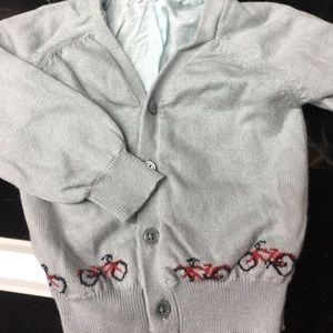 Rachel Riley Other - Grey baby cardigan with red bicycles. Size 6 month