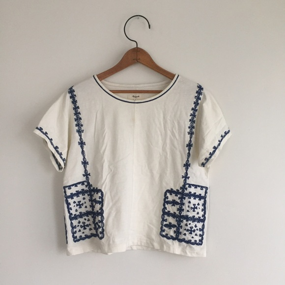fb46835545b2ea Madewell Tops - Madewell Blue and White Embroidered Top
