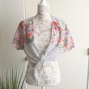 Vintage ILGWU Floral Polkadot Cardigan
