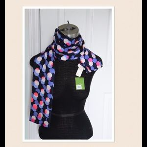 NWT Kate spade multi color dot silk scarf