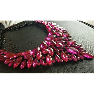 Fuschia Gemstone Statement Necklace