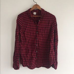 J. Crew Tops - J. Crew Red and Black Gingham Flannel