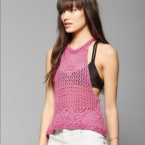 Urban Outfitters Pink boho crochet racerback top