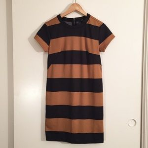 BLACK & BROWN STRIPED SHIRT DRESS