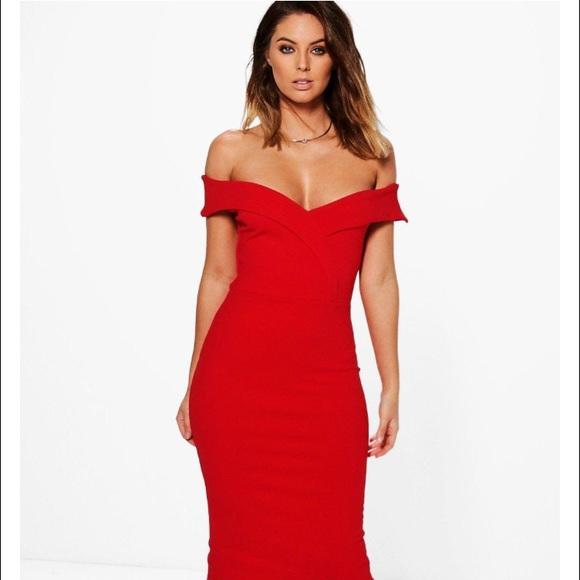 62b4cdc73ad8 Boohoo Off Shoulder Midi Dress (Red) US 4 UK 8