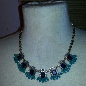 J. Crew Blue, Crystal & Green Statement Necklace