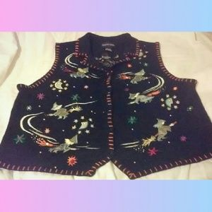 EMBROIDERED HALLOWEEN 🎃  WITCHY SWEATER VEST LG