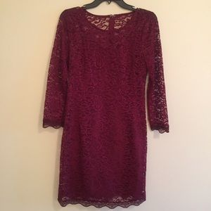 Piperlime Collection Maroon Dress with Lace