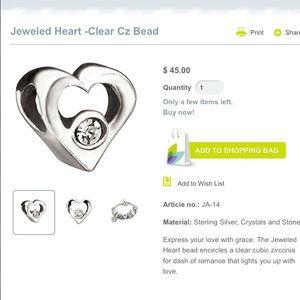 Chamilia Jewelry - Jeweled Heart Charm, sterling silver w/CZ stone.