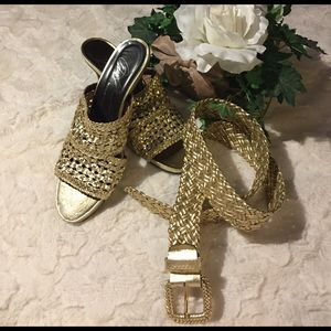 Donald J. Pliner Shoes - EUC Donald Pliner Gold Leather Weave Heels, 8