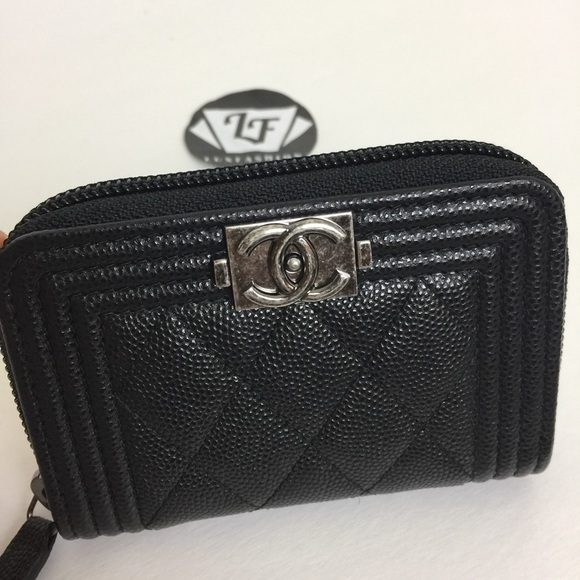 259b264b37bd Chanel Boy Zip Around Card Holder Black Caviar SHW NWT