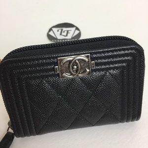 CHANEL Handbags - Chanel Boy Zip Around Card Holder Black Caviar SHW
