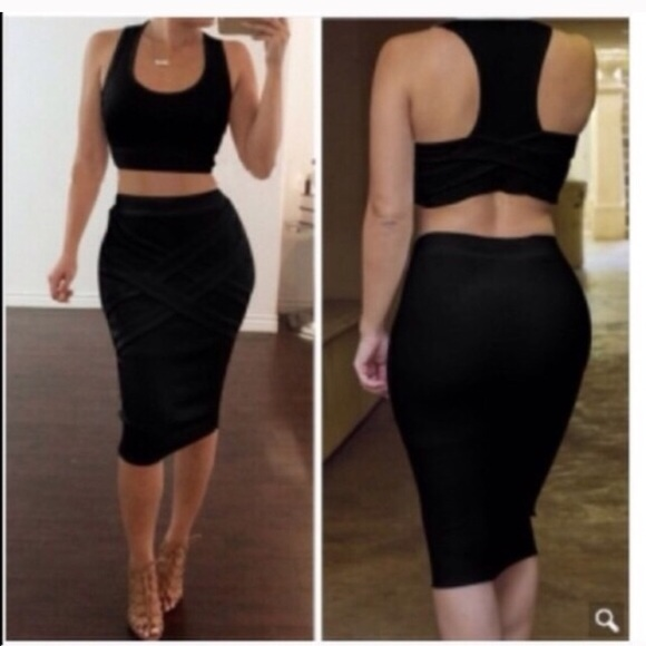 61267d4c1 Other | New Sexy Black 2piece Crop Top Pencil Skirt Set | Poshmark