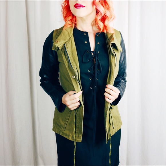 Jackets & Blazers - Olive and Black Moto Jacket
