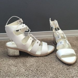 White lace-up sandals