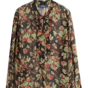 Polo Ralph lauren Floral  Silk Top Shirt  blouse