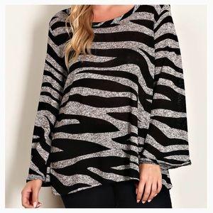 Tops - Sale! Zebra Print Black Plus Top
