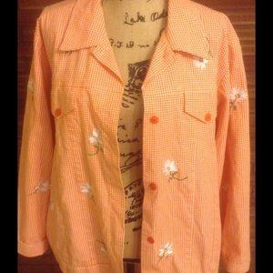 The Quacker Factory Jackets & Blazers - Cute orange and white gingham jacket 🌼