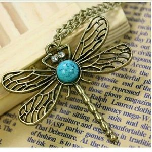 Dragonfly with Turquoise and Rhinestone Necklace