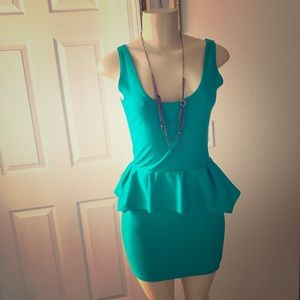 Poof Couture Dresses & Skirts - Poof Couture:| Teal Peplum Dress. Size Small.
