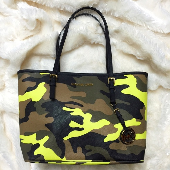 6a7f39eeff97 MICHAEL KORS Acid Yellow Camo Small Jet Set Tote.  M_5885adb78f0fc4e2791318d3. Other Bags ...