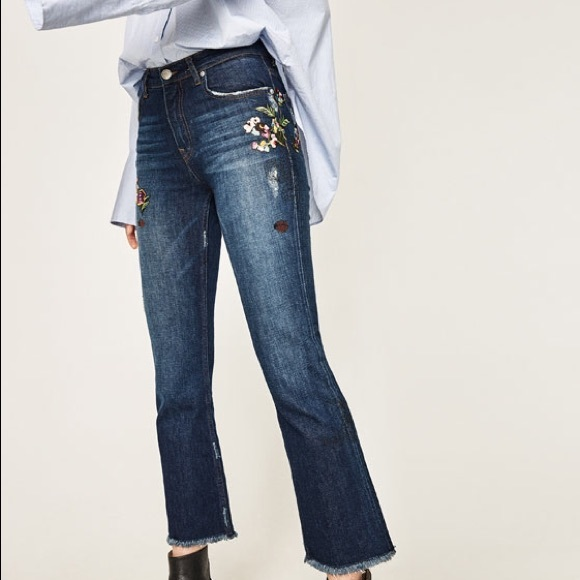 Zara cropped embroidered jeans from jennifer s