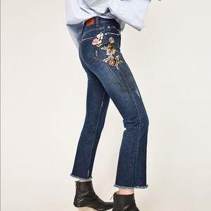 Zara cropped embroidered jeans
