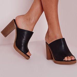 Boutique Shoes - Black Chic Peep Toe Mules