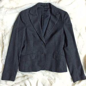 Theory Wool Grey Pinstripe Slim Blazer Jacket
