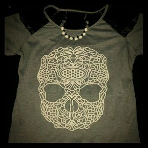 Tops - *Gray Skull Shirt with Black Lace* NWOT!